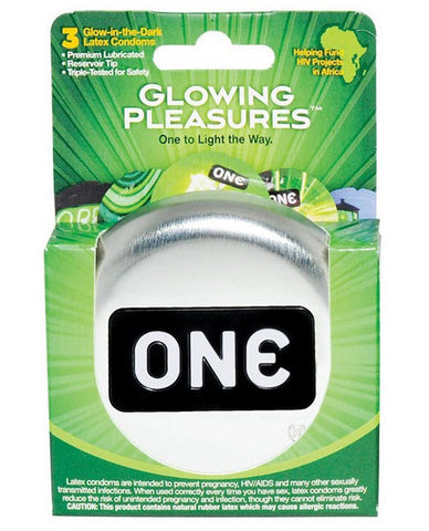 ONE GLOWING PLEASURES CONDOMS 3PK