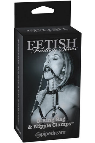 FETISH FANTASY O RING GAG WITH NIPPLE CLAMPS