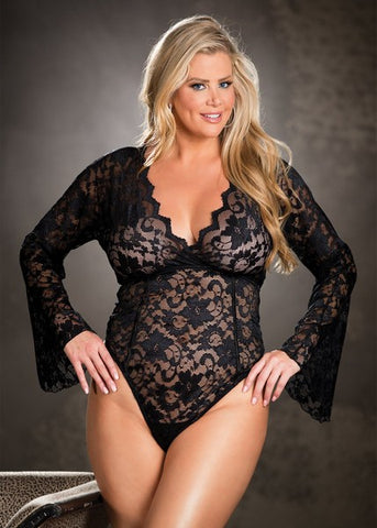 LONG SLEEVE STRETCH LACE TEDDY