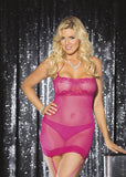 MESH AND STRETCH LACE GARTERED CHEMISE
