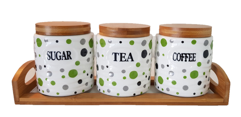 SET OF 3 CANISTER SET TEA COFFEE SUGAR POLKA DOT GREEN ROUND WITH WOODEN STAND