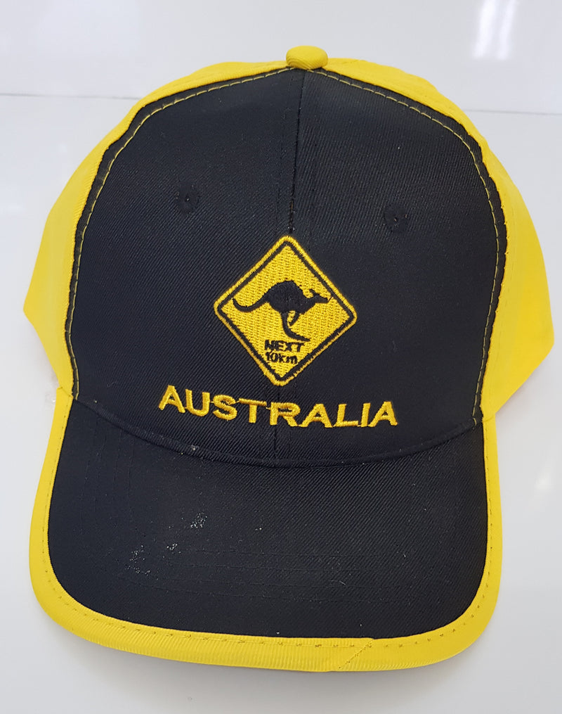 UNISEX MEN'S LADIES AUSTRALIAN SOUVENIR CAPS HATS EMBROIDERED BLACK AND YELLOW KANGAROO ROAD SIGN