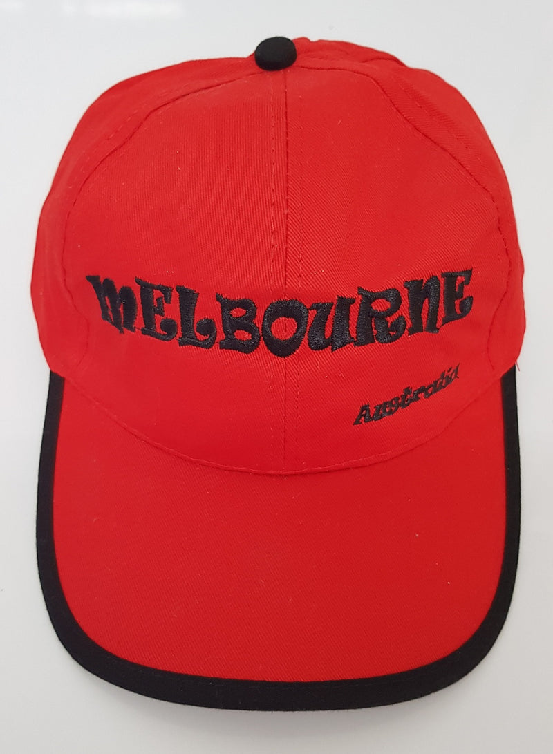 UNISEX MEN'S LADIES AUSTRALIAN SOUVENIR CAPS HATS EMBROIDERED RED & BLACK MELBOURNE