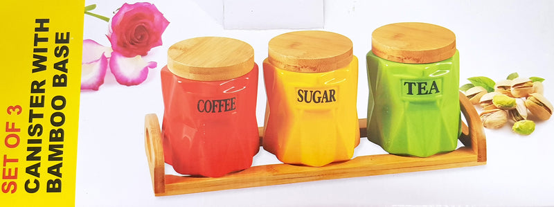 SET OF 3 COLOURED CANISTER SET TEA COFFEE SUGAR WOODEN STAND ROUND SPIKY WH39