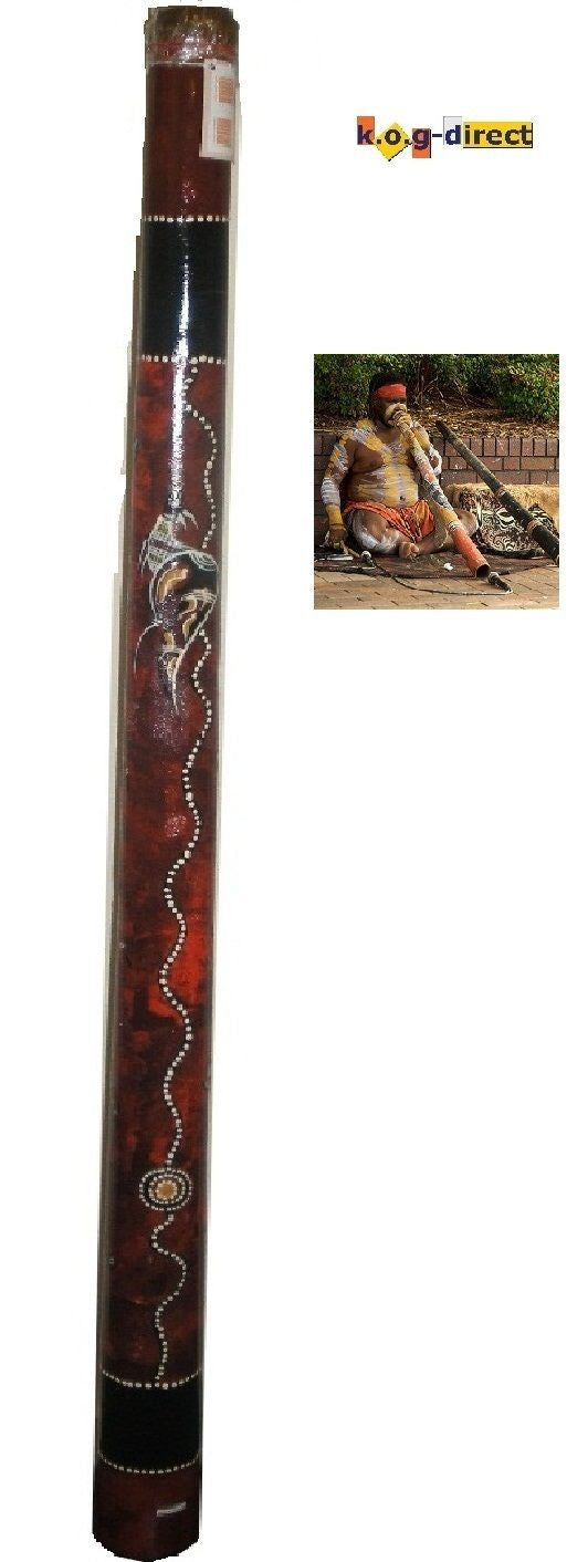 DIDGERIDOO HARDWOOD UP TO 120CM ABORIGINAL STYLE BEAUTIFULLY HAND PAINTED NEW BRN