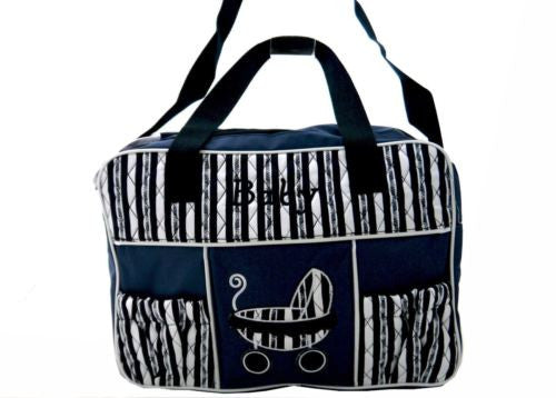 TRENDY BABY DIAPER TOTE NAPPY BAG WITH CHANGE MAT NAVY BLUE HW193