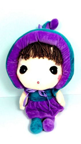 CUTE AZZ BIG HEAD RAG DOLL COLLECTABLE VELVET SOFT PLUSH TEAL & PURPLE 40CM HW84