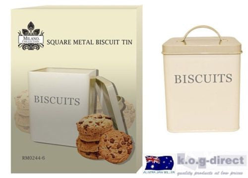 MILANO SQUARE METAL BISCUIT TIN WITH LID CREAM COLOR NEW IN BOX