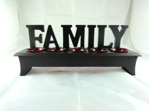 WOODEN WORDING STAND FAMILY WITH RED GLASS TEA LIGHT CANDLE HOLDER W26RD