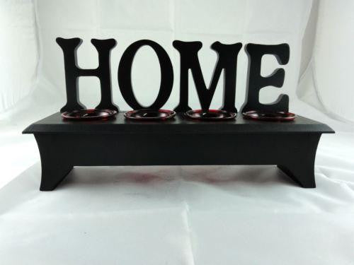 WOODEN WORDING STAND HOME WITH RED GLASS TEA LIGHT CANDLE HOLDER W27RD