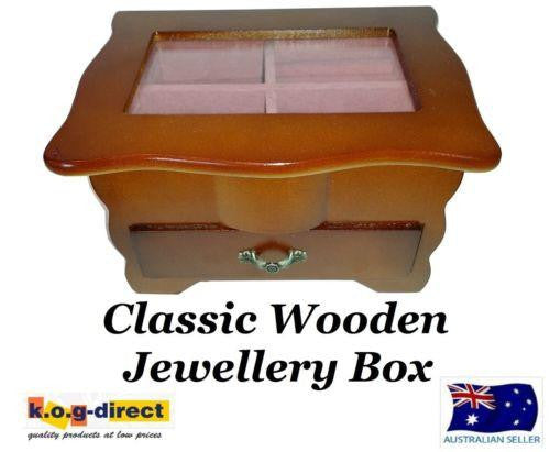 MEDIUM WOODEN JEWELLERY BOX ONE DRAWER AND GLASS LID HW-29