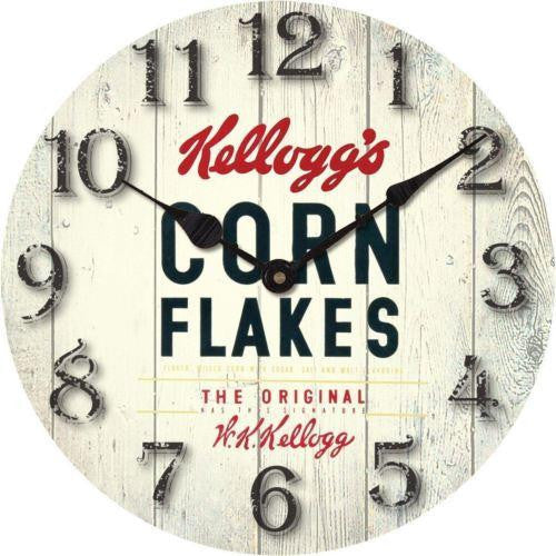 KELLOGGS CORN FLAKES VINTAGE BOX FLOORBOARD WALL CLOCK THE ORIGINAL KELLOGG'S