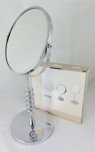 MAGNIFYING COSMETIC TWO SIDE BATHROOM MIRROR COIL STAND 3X MAGNIFICATION WL19