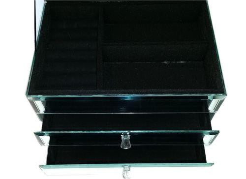 LARGE BEJEWELLED MIRROR JEWELLERY BOX VELVET LINED GEMS & 2 DRAWERS HW34