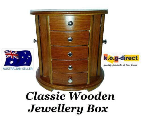 LARGE WOODEN JEWELLERY BOX WITH 4 DRAWERS AND NECKLACE ORGANISER HW-31
