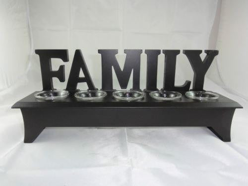 WOODEN WORDING STAND FAMILY WITH CLEAR GLASS TEA LIGHT CANDLE HOLDER W26WT