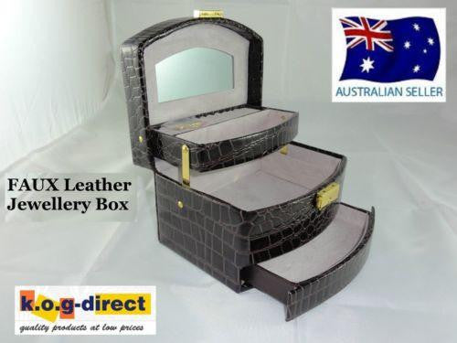 JEWELLERY BOX FAUX LEATHER LOCK & KEY AUTOMATIC PULL OUT DRAWERS BROWN W36