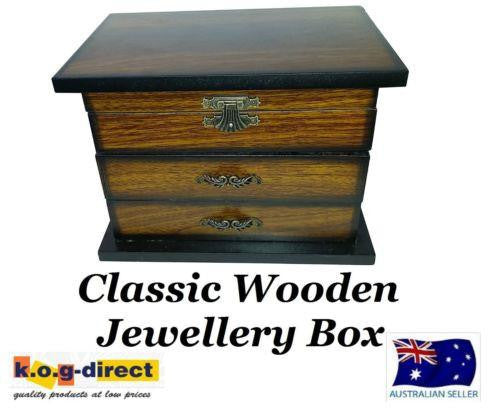 MEDIUM DARK WOODEN JEWELLERY BOX TWO DRAWERS AND MIRROR HW-28