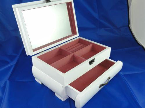 WOODEN JEWELLERY BOX WHITE WITH DRAWER AND MIRROR INNER LINED W51