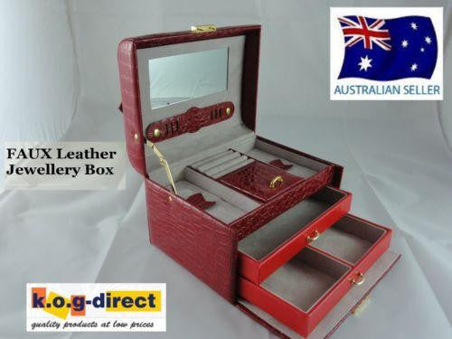 XXL JEWELLERY BOX FAUX LEATHER LOCK & KEY FLIP OPEN LID RED W33