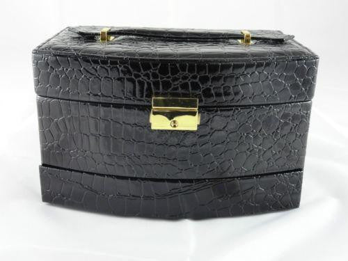 XXL JEWELLERY BOX FAUX LEATHER LOCK & KEY AUTOMATIC PULL OUT DRAWERS BLACK W37