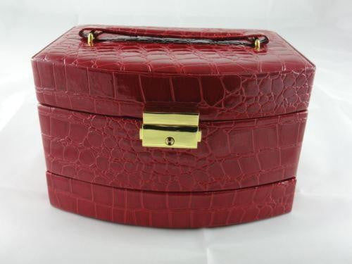JEWELLERY BOX FAUX LEATHER LOCK AND KEY AUTOMATIC PULL OUT DRAWERS RED W36