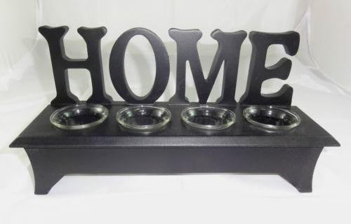 WOODEN WORDING STAND HOME WITH CLEAR GLASS TEA LIGHT CANDLE HOLDER W27WT