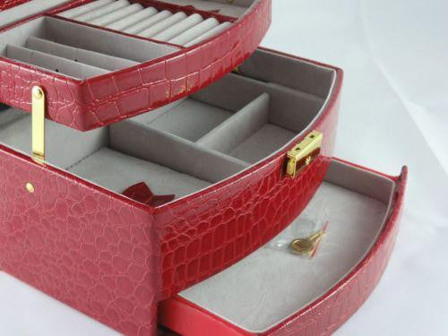 XXL JEWELLERY BOX FAUX LEATHER LOCK & KEY AUTOMATIC PULL OUT DRAWERS RED W37
