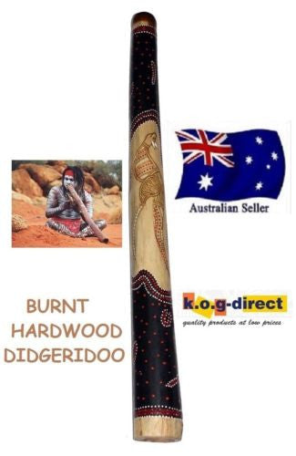 DIDGERIDOO BURNT HARDWOOD 90CM ABORIGINAL BEAUTIFULLY HAND PAINTED NEW BRN