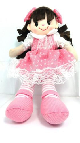 CUTE AZZ COLLECTABLE RAG DOLL PINK DRESS RAGDOLL 35 CM TALL HW-104A