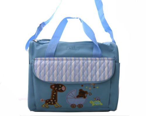 TRENDY BABY DIAPER TOTE NAPPY BAG WITH CHANGE MAT LIGHT BLUE HW192