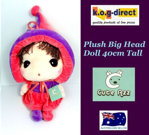 CUTE AZZ BIG HEAD RAG DOLL COLLECTABLE VELVET SOFT PLUSH PURPLE & PINK 40CM HW84