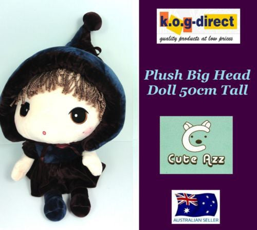 CUTE AZZ BIG HEAD RAG DOLL COLLECTABLE VELVET SOFT PLUSH NAVY & PLUM 50CM HW-85