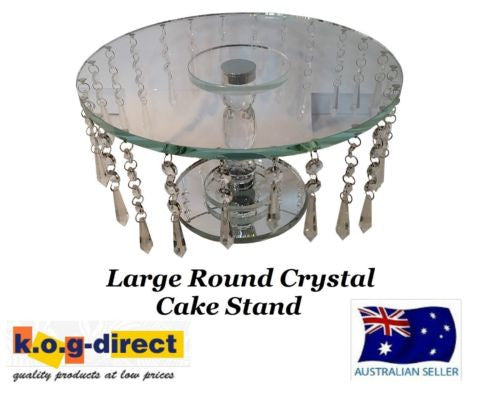 WEDDING ENGAGEMENT 33CM ROUND CRYSTAL CAKE STAND WITH HANGING CRYSTALS HW-68
