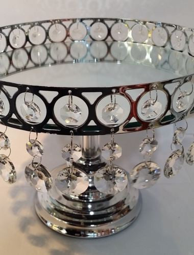 WEDDING ROUND CAKE STAND 25CM WITH ORNATE METAL RING AND HANGING CRYSTALS HW-64