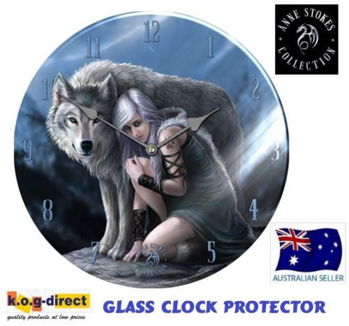 ORIGINAL ANNE STOKES LARGE WALL GLASS CLOCK PROTECTOR NEW IN BOX 34CM