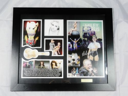 MILEY CYRUS MEMORABILIA LIMITED EDITION WITH CERTIFICATE FRAMED & GLASS