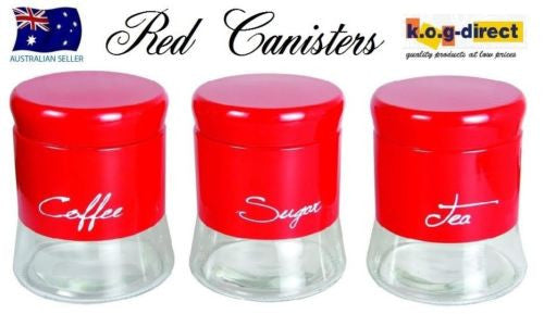 SET OF 3 GLASS CANISTER SET TEA COFFEE AND SUGAR RED BRAND NEW IN BOX