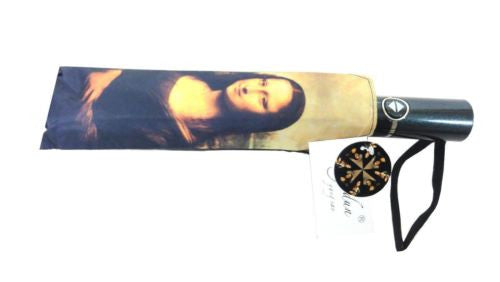 DA VINCI MONA LISA LADY WITH ERMINE AUTOMATIC OPEN COMPACT FOLDING UMBRELLA HW-70