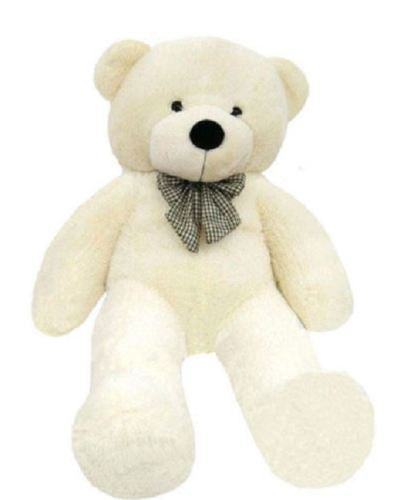 1.6M GIANT HUGE STUFFED TEDDY BEAR & BOW TIE HUGGABLE SOFT PLUSH WHITE NEW