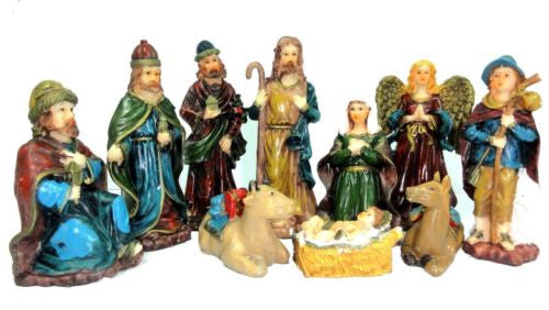 10 PIECE CHRISTMAS NATIVITY SET SCENE WITH 10 FIGURES NEW HW-49