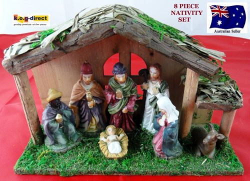 8 PIECE NATIVITY SET SCENE WITH 7 FIGURES AND WOODEN CRECHE STABLE WL-37