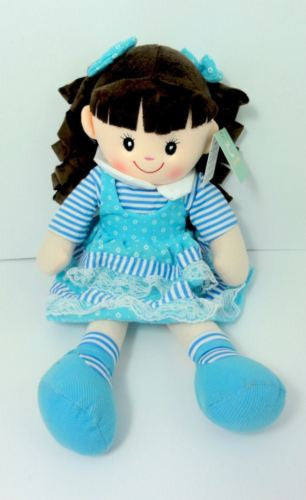 CUTE AZZ COLLECTABLE RAG DOLL BLUE DRESS BROWN HAIR RAGDOLL 50 CM TALL HW-102