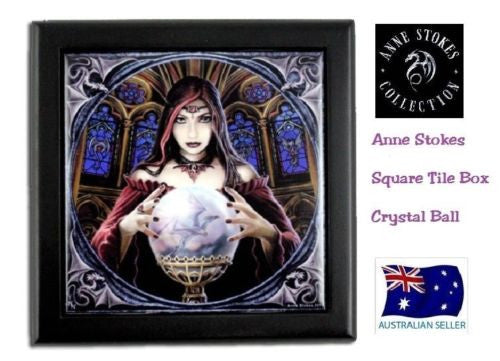 ANNE STOKES SQUARE TILE TRINKET JEWELLERY BOX ART CRYSTAL BALL