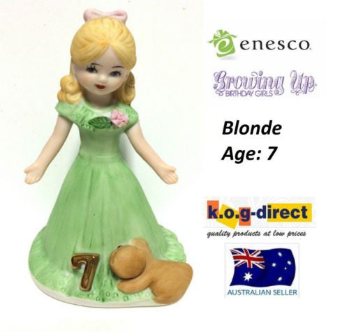ENESCO GROWING UP GIRLS FIGURINE AGE 7 BLONDE BRAND NEW IN BOX