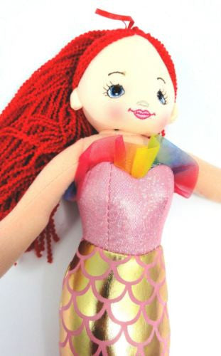 CUTE AZZ COLLECTABLE MERMAID RAG DOLL RED HAIR RAGDOLL 40cm HW-105