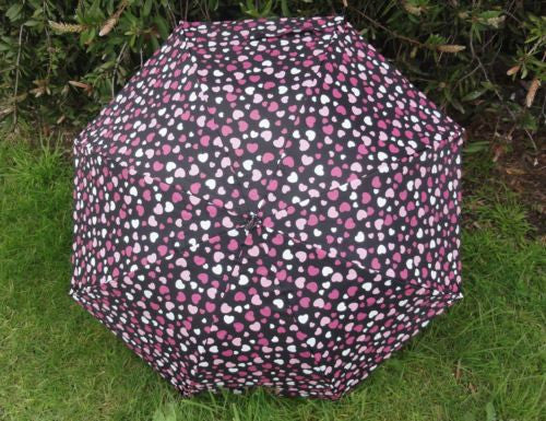 UMBRELLA BLACK WITH PINK HEARTS 100CM DIAMETER AUTOMATIC OPEN