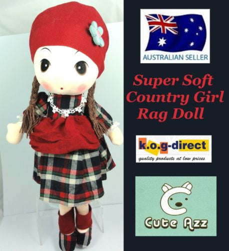 CUTE AZZ COUNTRY GIRL RAG DOLL COLLECTABLE VELVET SOFT PLUSH RED 60CM HW-86