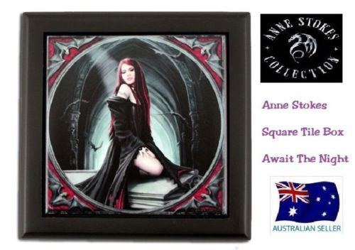 ANNE STOKES FANTASY GOTHIC SQUARE TILE TRINKET JEWELLERY BOX ART AWAIT THE NIGHT