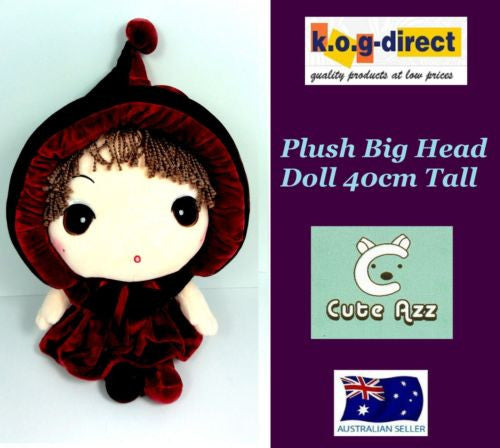 CUTE AZZ BIG HEAD RAG DOLL COLLECTABLE VELVET SOFT PLUSH BURGUNDY PLUM 40CM HW84
